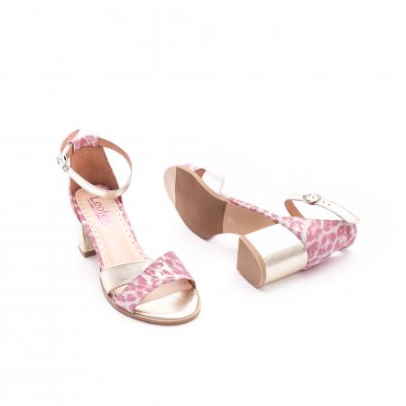 Sandale dama piele naturala Leofex 228, roz cu auriu2