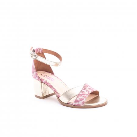 Sandale dama piele naturala Leofex 228, roz cu auriu0