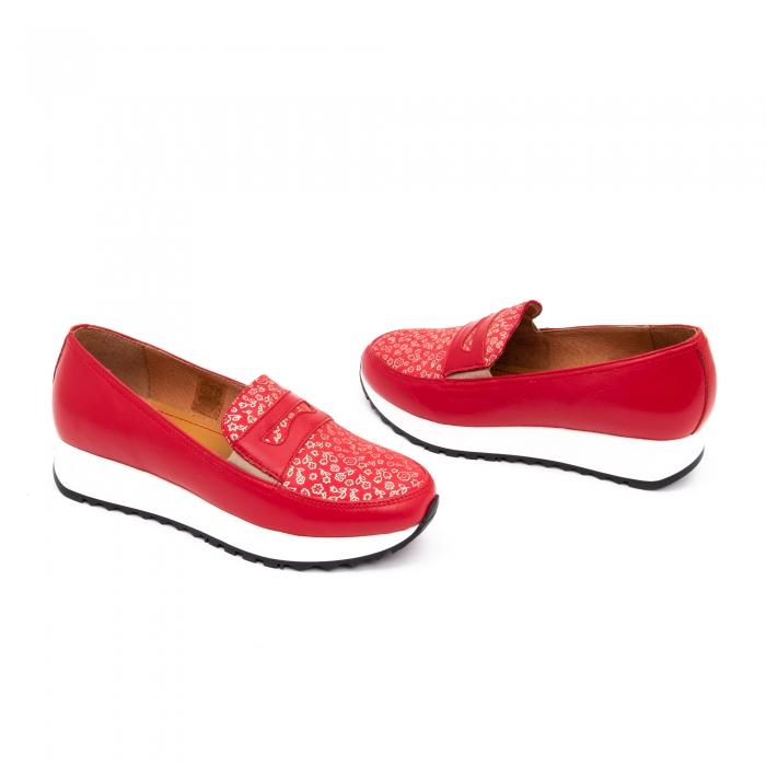 Pantof casual dama LFX 100 roze-rosu  semigrafiat