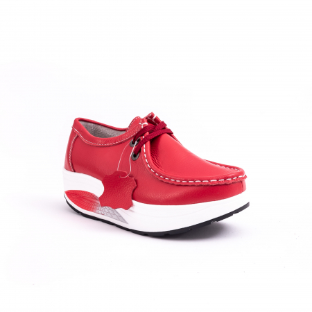 Pantof casual dama F003-1807 red leather