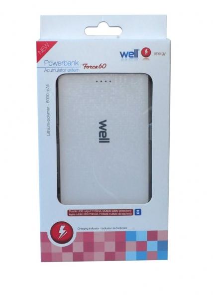 Acumulator USB portabil powerbank 6000mAh 2.1A alb Well