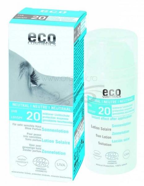 Lotiune fluida de protectie solara FPS20 FARA PARFUM, 100 ml - Eco Cosmetics