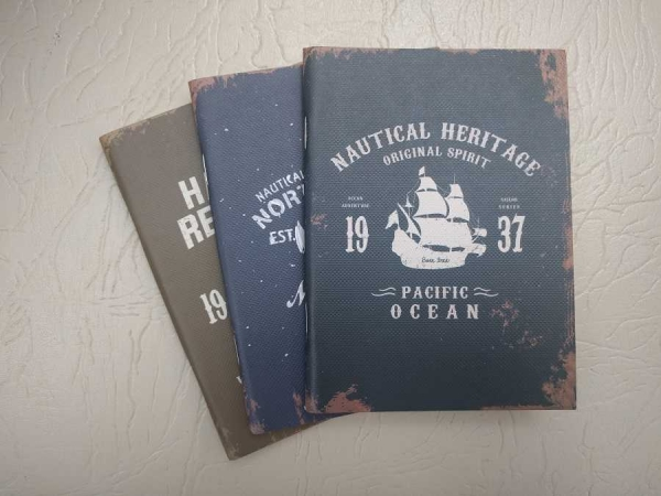 Notebook 24 file motive Navy Nautical - Heritage