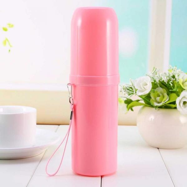 Recipient pentru periuta si pasta de dinti - Roz