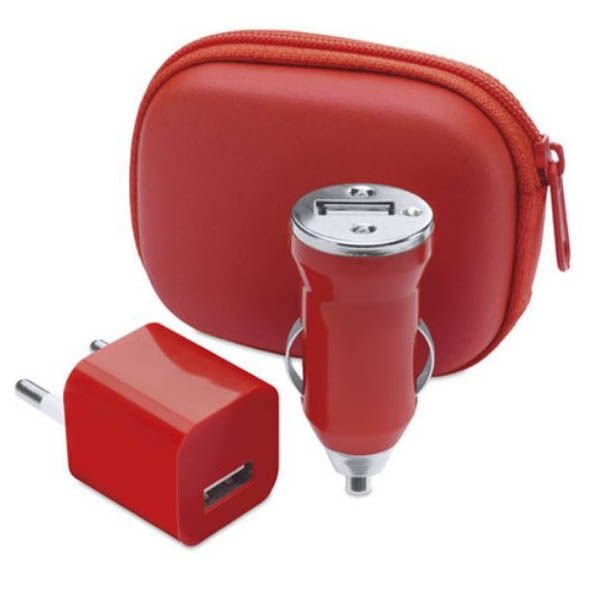 Charging Set, include: geanta, incarcator USB si incarcator USB pentru masina, 1000 mA - Rosu