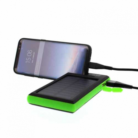 Acumulator extern powerbank solar 4000mAh 2.0A, negru/verde, Well