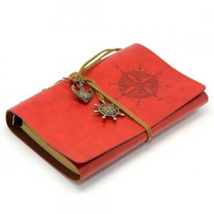 Agenda/Notebook Vintage de calatorie cu coperta din Piele Ecologica Rosie