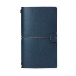 Agenda/Notebook Vintage A6 de calatorie cu coperta din Piele ecologica Albastru