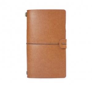 Agenda/Notebook Vintage A6 de calatorie cu coperta din Piele ecologica Maro Deschis