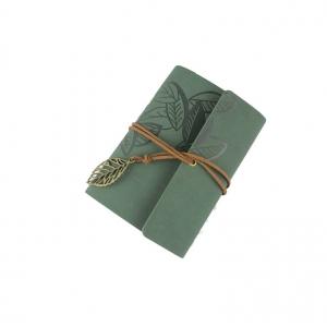 Agenda/Notebook Vintage de calatorie cu coperta din Piele Verde