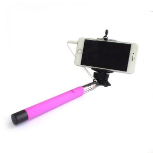Wired Selfie Stick Tellur Z07-5 Plus, Neon Pink, Plug and Play , compatibil Apple si Samsung