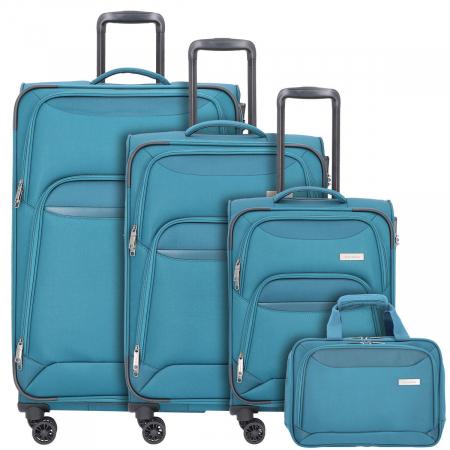 SET Trolere Travelite KENDO 4W S,Mexp,L Petrol + Geanta de bord CADOU