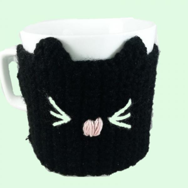 Cana cu hainuta crosetata pisica, negru