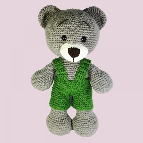 Jucarie crosetata manual, Ursulet cu salopeta verde, Umplutura hipoalergenica, 30 cm