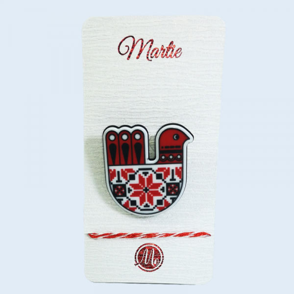 Martisor tip brosa cu motive traditionale romanesti, Multicolor, 4 cm