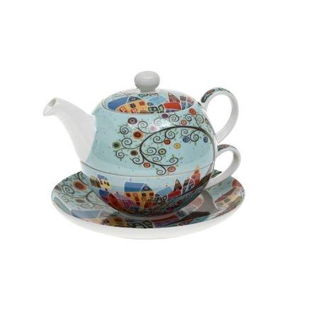 Set cu ceainic, ceasca si farfurie, portelan, Multicolor, 500 ml