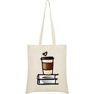 "Sacosa bumbac de umar "" Coffee + Books = Love "", 38x42, Crem"