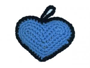 Ornament Crosetat Manual sub forma de Inima, Umplut cu Lavanda, Multicolor, 6 cm