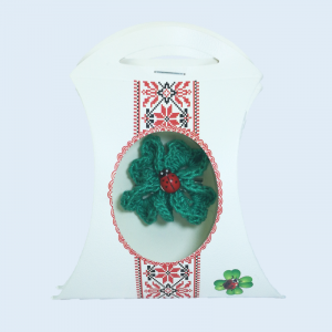 Martisor Brosa, Crosetat Manual, Trifoi, Verde, 4 cm
