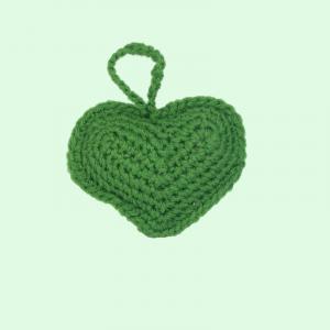 Ornament Crosetat Manual sub forma de Inima, Umplut cu Lavanda, Verde, 6 cm