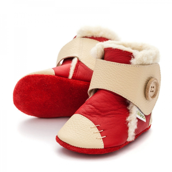 Cizme cu talpă moale Liliputi® - Snowflake Red
