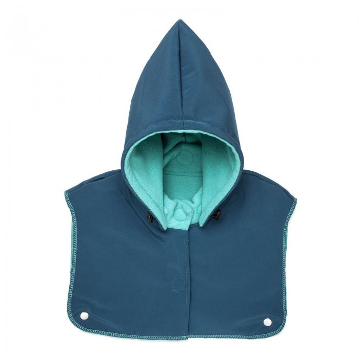 Glugă și fular de încălzire a gâtului pentru bebeluși Liliputi - Azure Turquoise