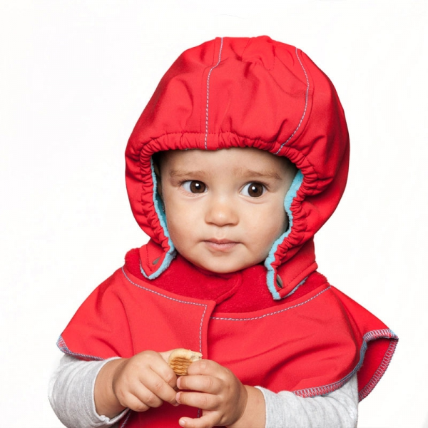 Glugă și fular de încălzire a gâtului pentru bebeluși Liliputi® - Red-turquoise