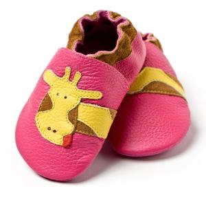 Pantofi cu talpă moale Liliputi® - Fuchsia Giraffe