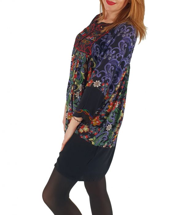 Rochie/Bluza brodata cu imprimeu floral Oana
