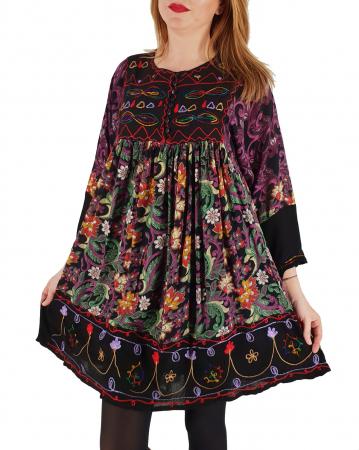 Rochie/Bluza brodata cu imprimeu floral Oana 3