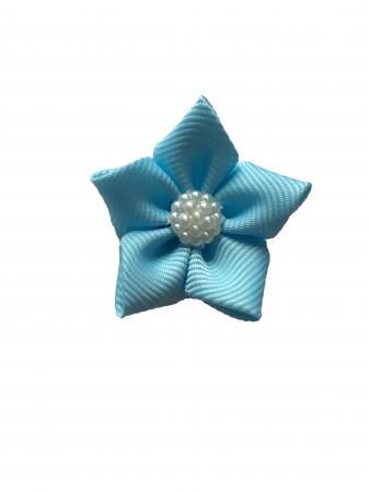 Floare saten mat, raiat - 4 cm (albastru deschis)