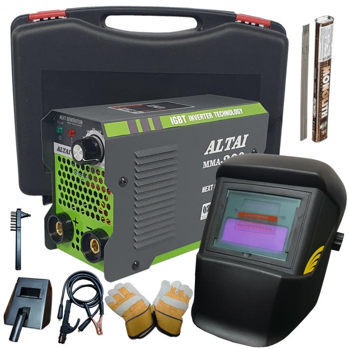 Pachet promo: Aparat de sudura ( Invertor ) ALTAI MMA 300 + Masca de sudura automata + Cutie transport + Palmari + Electrozi, Cablu 3m 0