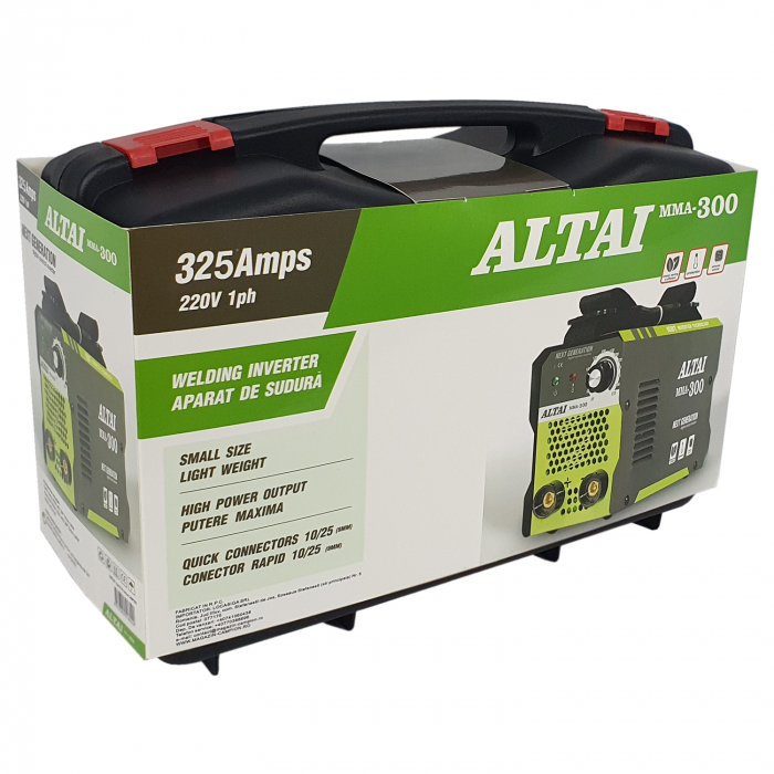 Pachet promo: Aparat de sudura ( Invertor ) ALTAI MMA 300 + Masca de sudura automata + Cutie transport + Palmari + Electrozi, Cablu 3m 4