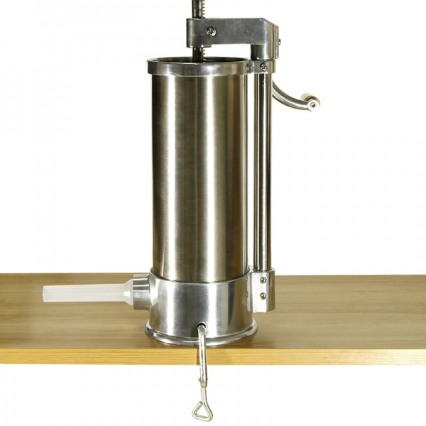Aparat de umplut carnati vertical, inox, capacitate 6kg, incluse 6 palnii + BONUS 2