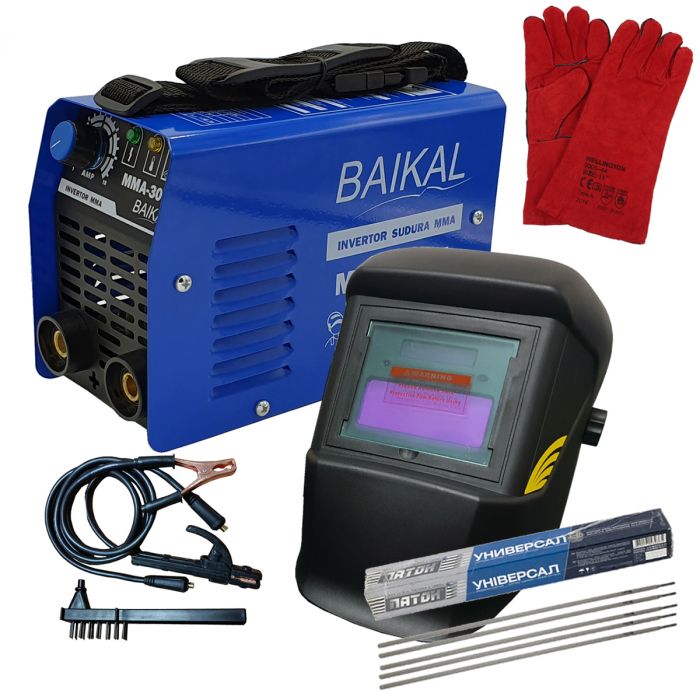 Aparat de sudura ( Invertor ) BAIKAL MMA 300A  + Masca automata cu cristale lichide + Manusi + Electrozi 0