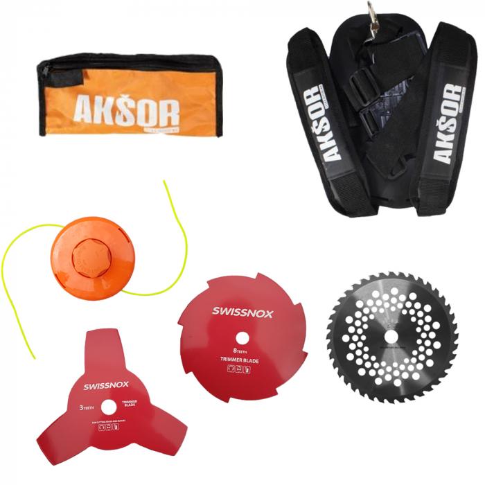 Pachet Motocoasa de umar AKSOR A5500 Cehia + Prasitoare + Accesoriu fierastrau, 55cmc, consum redus de carburant 3