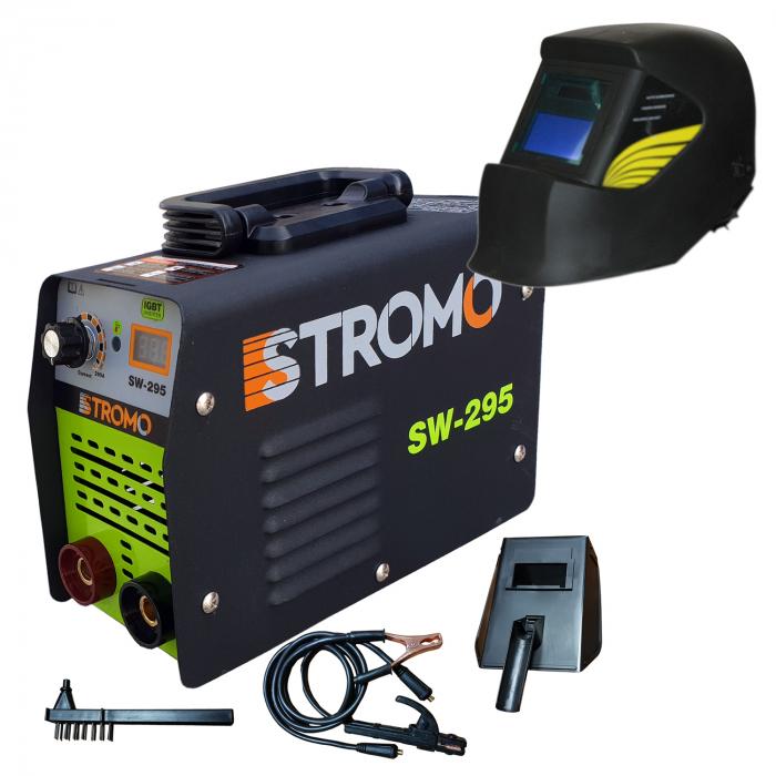 Aparat de sudura invertor STROMO SW 295+ Masca cristale lichide,afisaj electronic, electrod 1.6-4mm, accesorii incluse 0