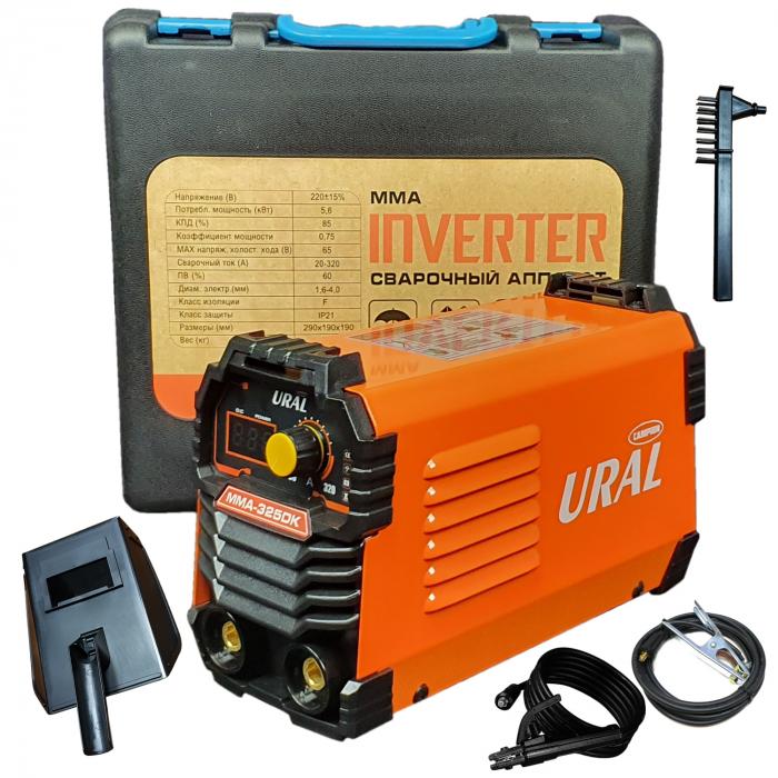 Aparat de sudura ( Invertor ) URAL MMA 325DK + Masca automata, 320Ah, Accesorii Incluse,Cutie de Transport, Cabluri 3M 5