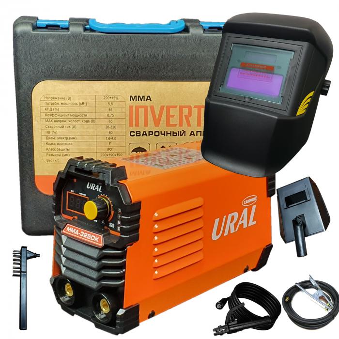 Aparat de sudura ( Invertor ) URAL MMA 325DK + Masca automata, 320Ah, Accesorii Incluse,Cutie de Transport, Cabluri 3M 0