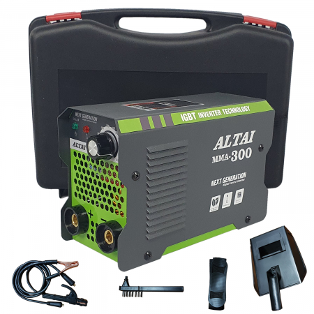 Pachet promo: Aparat de sudura ( Invertor ) ALTAI MMA 300 + Masca de sudura automata + Cutie transport + Palmari + Electrozi, Cablu 3m2