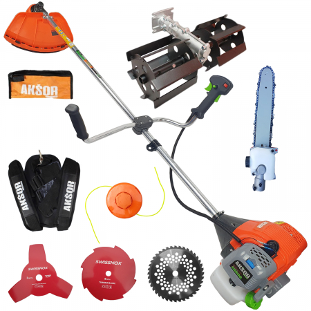 Pachet FULL, AKSOR Profesional Cehia, Motocoasa A5500 7CP, Motofierastrau AGS55 4.5CP, prasitoare, accesoriu tip fierastrau [4]