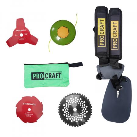 Motocoasa 4 timpi ProCraft T5600, 7.5CP, 4 Tipuri de taiere, Ham Dublu2