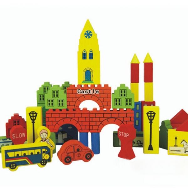 set castel cuburi din lemn cu indicatoare