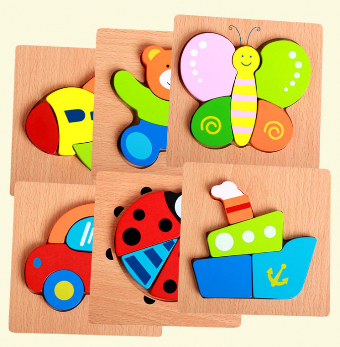 Joc puzzle din lemn pentru copii varsta incepand cu 1 an - vapor.