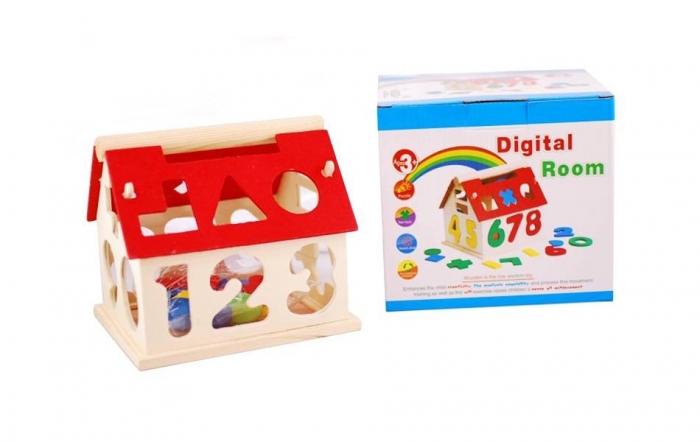 Jucărie din lemn - Casuta cu forme geometrice si cifre