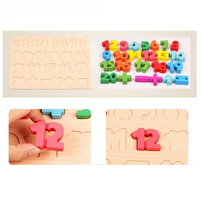 Puzzle lemn piese de 1 la 20 si semne pentru operatii matematice.