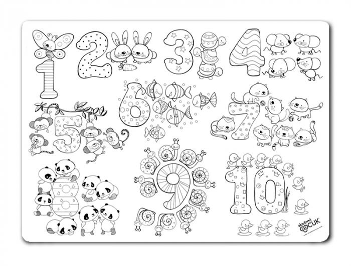 Pachet plansa desen reutilizabila - cifre si numere si Carioca Joy.