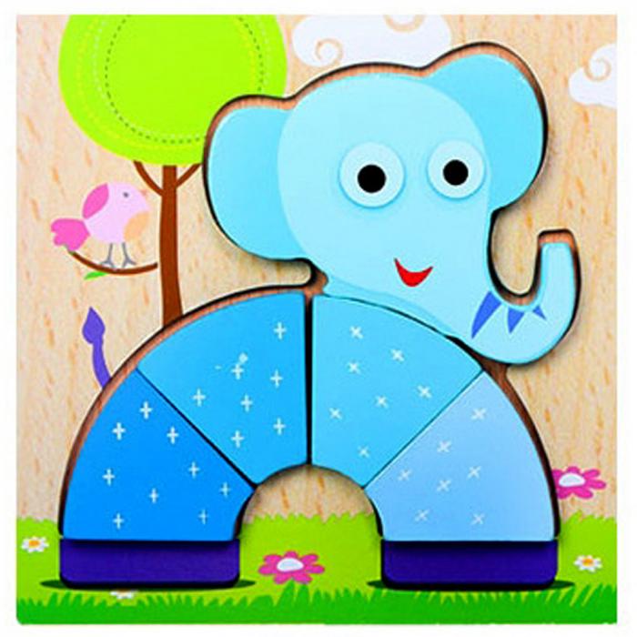 Joc puzzle din lemn pentru copii 1 an Elefant.