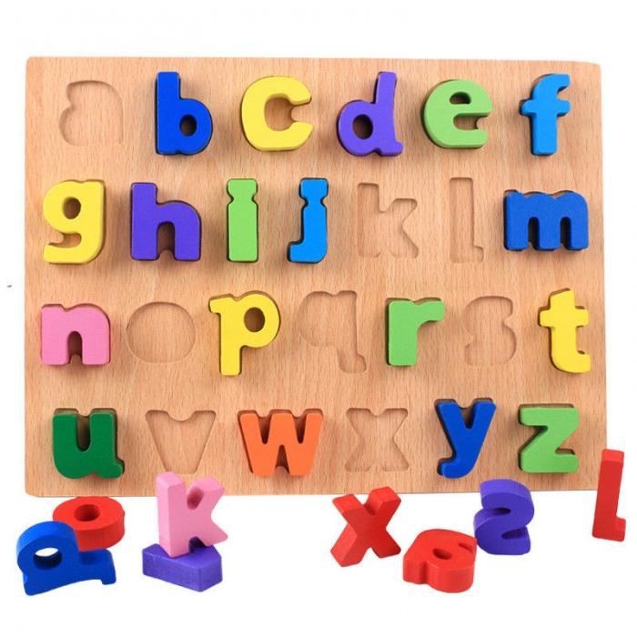 puzzle litere mici de tipar din lemn pentru invatare alfabet si exersare culori