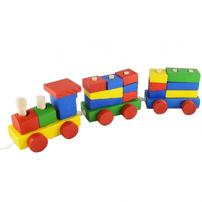 Tren din lemn cu forme geometrice de diferite culori, 15 piese